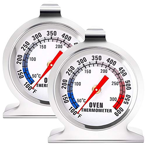 Anvin Oven Thermometers Large Dial Oven Grill Monitoring Cooking Thermometer with Dual-Scale 50-300°C/100-600°F for BBQ Baking, Hooks or Stands Alone Thermometers Durable Steel (Pack of 2)