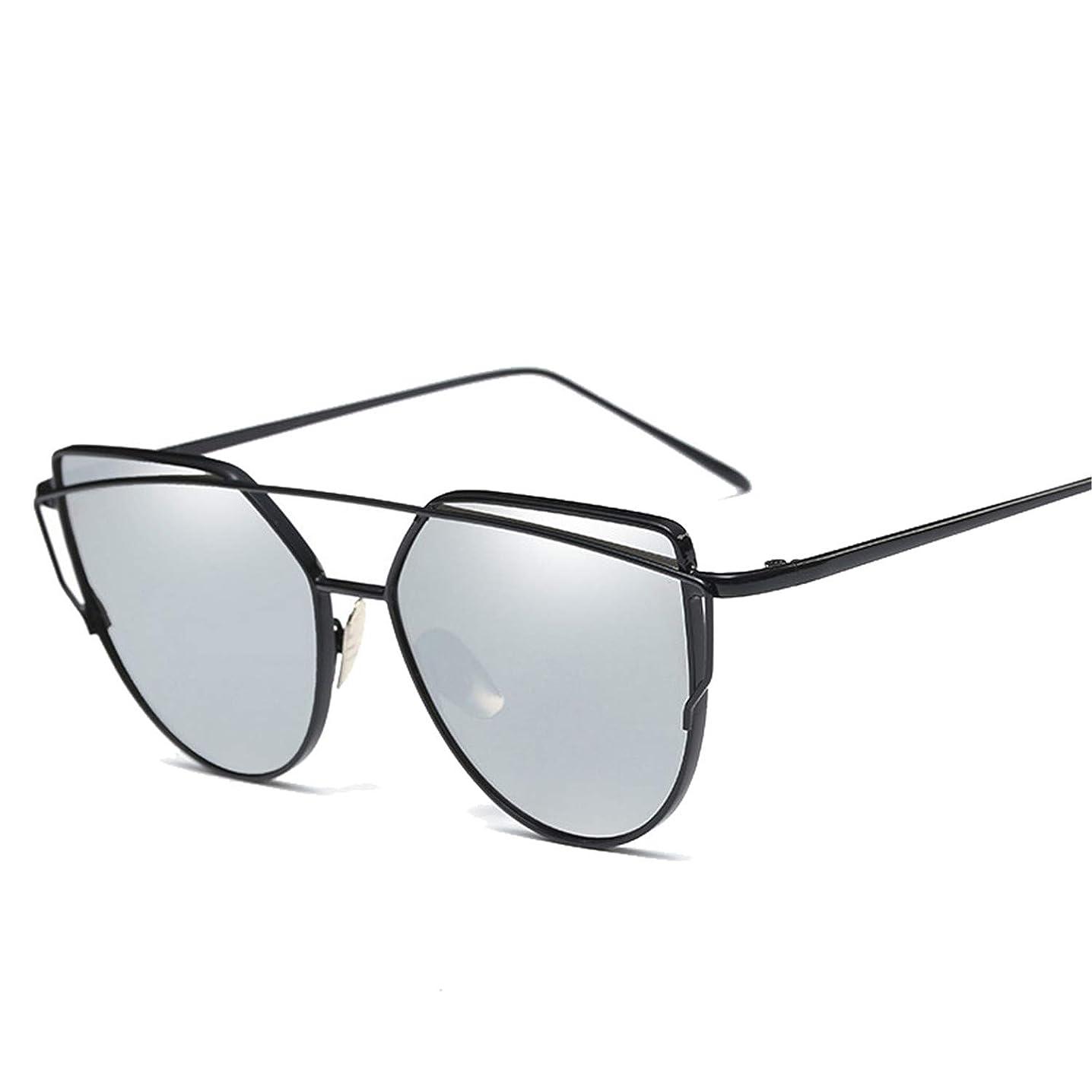 New Cat Eye Vintage Rose Gold Mirror Sunglasses for Women Flat Lens Sun Glasses 6627 Black Silver
