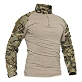 TACVASEN Chemise Camo Hommes Shirt Chasse Camouflage Manche Longue T-Shirt Men's Cotton Military Tactical Hunting Shirts Woodland CP