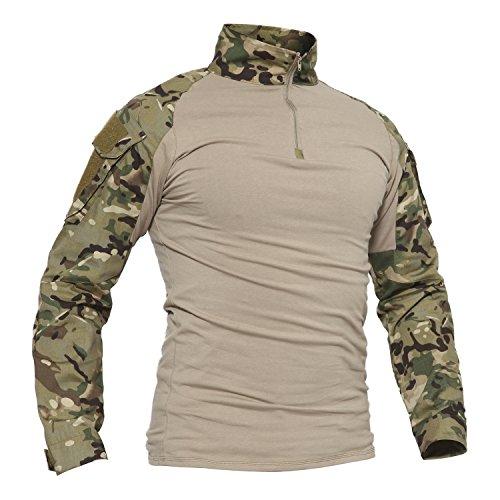 TACVASEN Camouflage Shirt Herren Hunting Jagd Taktisch Hemd Lange Ärmel Tactical Airsoft T-Shirt Long Sleeve Men's Camo Shirts Cp Woodland L