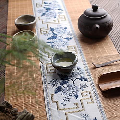 SHUJINGNCE Naturel Bamboo Table Runner Main Vintage Thé Japonais Tapis Japonais Drapeau Drapeau Accueil Café Restaurant Coasters (Color : Tea Cup Mat C, Size : 30x120cm)