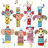 Twister.CK 8 Packs Bébé Hochet, hochets de Poignet de bébé et Chaussettes de Pied de Trouveur, Cadeau de Douche de développement éducatif Animal Doux Jouet avec Singe, éléphant, Chiot et Cochon
