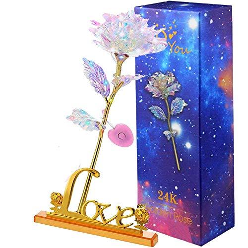 PASDTFB Rosas 24K Rosa de la Galaxia, Rosas Artificiales Luminosas Son Regalos para la Novia y la Esposa, Día de San Valentín, Día de la Madre, Aniversario, Cumpleaños