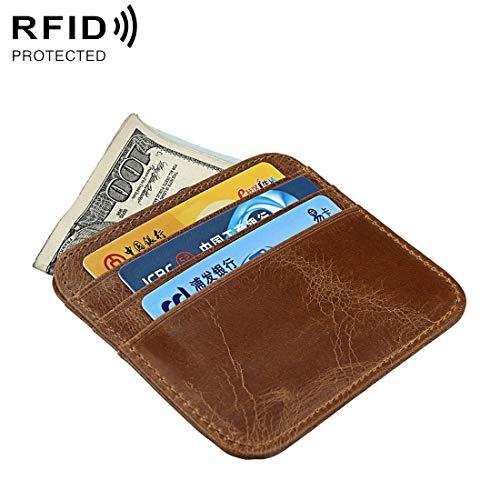 Hanks' Shop Karte Tasche Antimagnetik Mode Crazy Horse Texture Bus Kreditkarte Paket Einbrecher Bürste DOO
