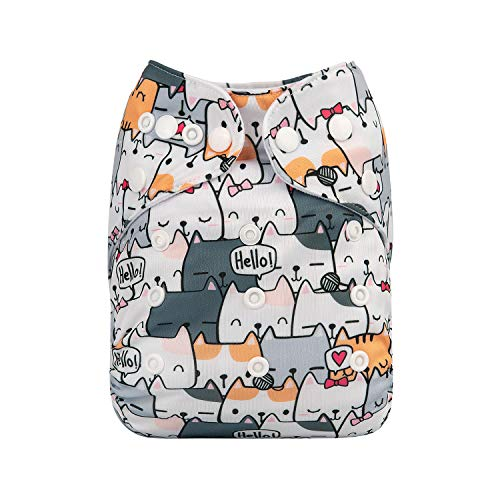 ALVABABY One Size Adjustable Pocket Nappy with 2 Inserts