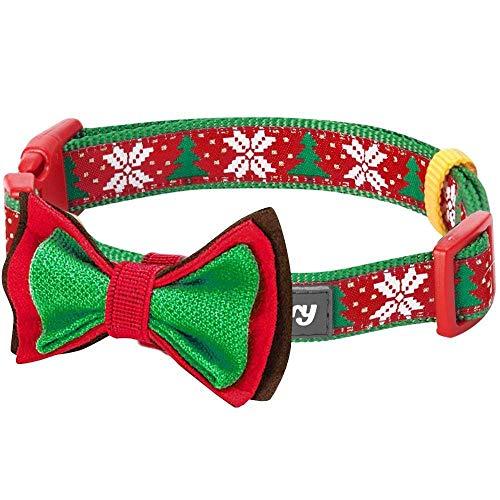 Blueberry Pet New Weihnachtsfreude Schneeflocken und Tannen Hundehalsband mit Abnehmbarer Fliege-Deko, Hals 45cm-66m, L, Festtags-Halsbänder für Hunde