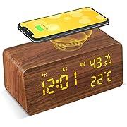 Holz Wecker Digital mit Wireless Charger (Qi Ladegerät), VESKYAO Holz Digitaluhr, Mit Sprachsteuerung /Schlummerfunktion/Datum/Temperatur und Luftfeuchtigkeit, für Zuhause, Schlafzimmer, und Büro