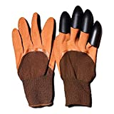 DIKOPRO Gardening Gloves Ladies & Men Thorn Proof Genie Green with 4 Sturdy Claws Waterproof And Breathable 1 Pair Garden Gloves Great for Digging Weeding Planting Yard Work Rose Pruning(Brown)