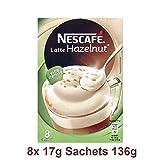 Paquetes de café instantáneo | Nescafé | Latte de oro con avellanas 8 piezas | Peso Total 136 grams