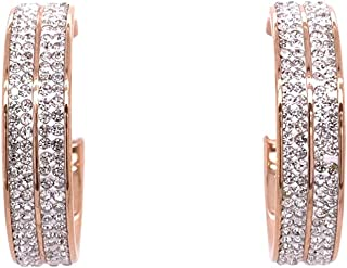 Bevilles Rose Stainless Steel Pave Crystal Hoop Earrings