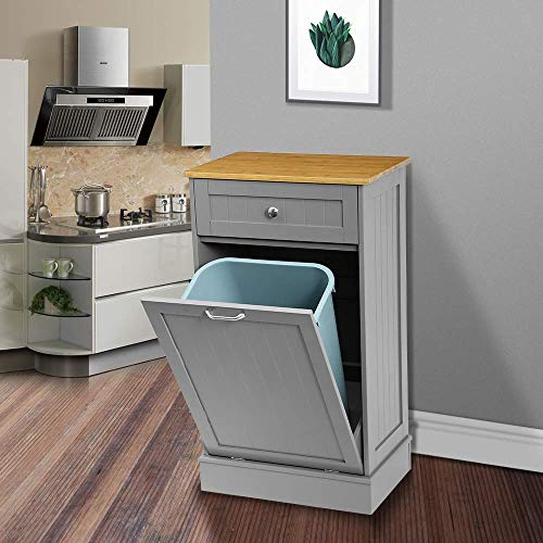New Kitchen Trash CabinetTilt Out Trash Cabinet with Solid Hideaway DrawerFree Standing Wooden Kitchen Trash Can Recycling Cabinet Trash Can HolderRemovable Bamboo Cutting Board Grey