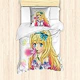 ABAKUHAUS Anime Bettbezug Set für Einzelbetten, Manga-Karikatur-Grafik, Milbensicher Allergiker geeignet mit Kissenbezug, Gelb Rosa
