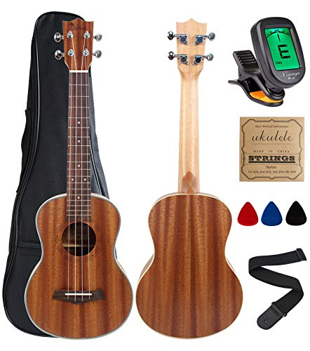 Kulana Deluxe Tenor Ukulele, Mahogany Wood with Binding and Aquila Strings + Gig Bag