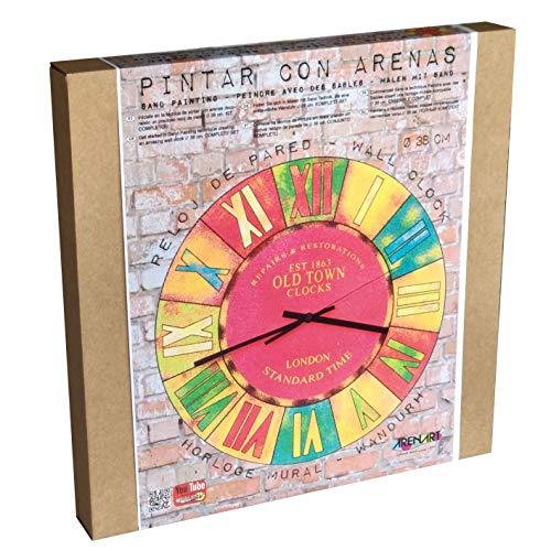 Arenart | 1 Reloj Old Town London Ø38 cm| para Pintar con Arenas de Colores | Manualidades para Adultos y Jóvenes | Dibujo Fácil | Pintar por números | +9 años