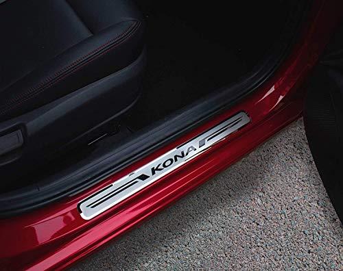 Für Hyundai Kona 2018–2021 Zubehör Stahl Einstiegsleisten Abschwellenschutz Schutzschwelle Verkleidung 4 Stück mit Logo YGAODWQ