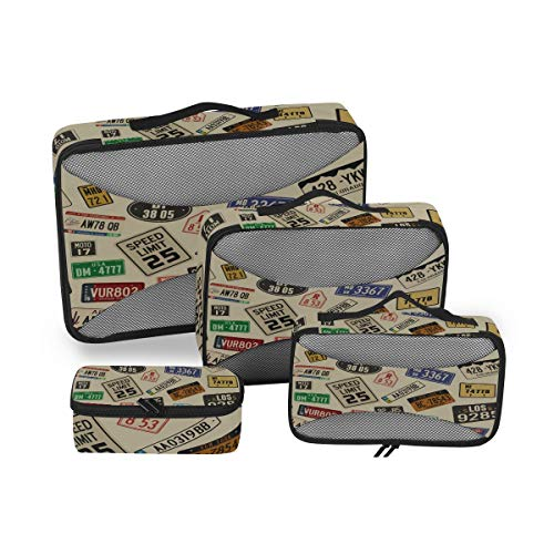 QMIN Travel Packing Cubes 4 Set Auto Nummernschilder Muster Muster Mesh Gepäck Organizer Taschen Transport Aufbewahrungstasche Taschen für Reisen Koffer Rucksäcke