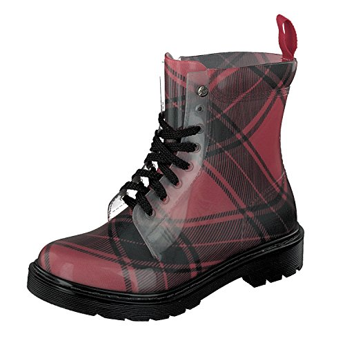 GOSCH SHOES Damen Boots Schuhe Gummistiefel Transparent 7105-155-59 in Rot/Schwarz (40)