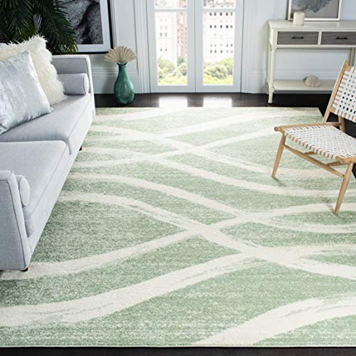Safavieh Adirondack Collection ADR125X Modern Wave Distressed Non-Shedding Stain Resistant Living Room Bedroom Area Rug, 8' x 10', Sage / Cream