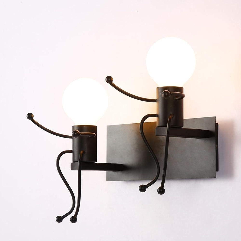 Zhang Yan ZYY Wandleuchte Modern Kreativ 2 flammig Design Wohnzimmer Esszimmer Schlafzimmer Flur Kinderzimmer Bedside Wandlampe Metall Lampe Wand Beleuchtung Schwarz Gemalt E27 Max. 60W