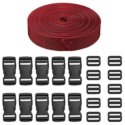 JETEDC(ジェットイデイシイ)Molle スーツケースベルト 荷崩れ防止 ベルト10セット 25mm×10m ワンタッチ式ロックプラスチックロック10個入り 荷締めベルト 作業用ベルト 調整可能 (赤)