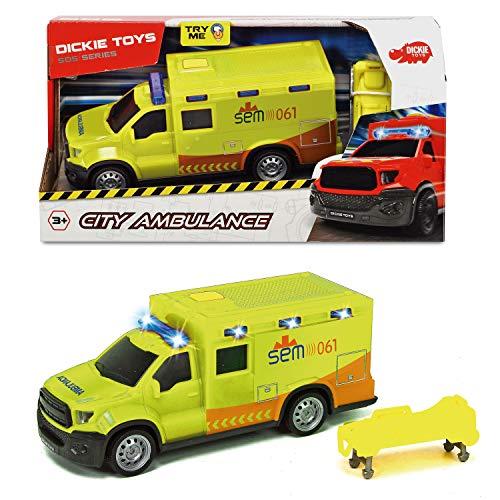 Dickie-Ambulancia SEM con luz y Sonido 18cm 1153013 Vehículo de Juguete con función, Color Amarilla