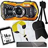 1A Photo PORST Jubiläums Angebot Ricoh WG-50 Orange+Mini-Stativ+Display-Schutzfolie+SD 16 GB Speicherkarte+Tasche+Schwimmgurt+Mikrofasertuch