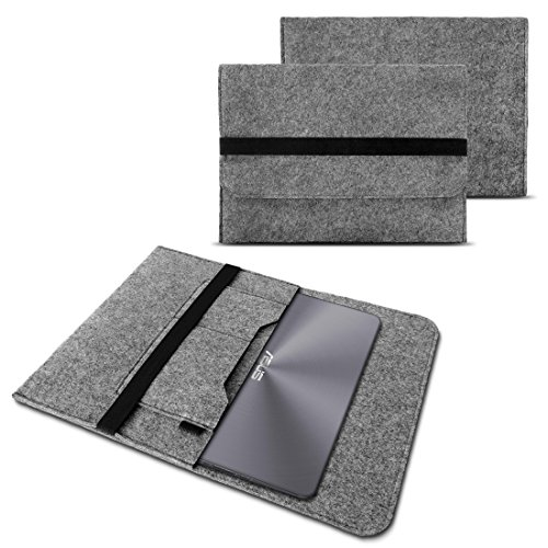 NAUC Sleeve Hülle für ASUS ROG G752VS Notebook Tasche Laptop 17,3 Zoll Cover strapazierfähiger Filz mit Innentaschen und sicherem Verschluss Grau, Farbe:Grau