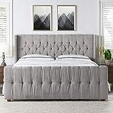 Jennifer Taylor David Upholstered Bed, King, Silver grey