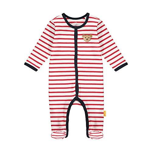Steiff Baby-Mädchen mit süßer Teddybärapplikation Strampler, Rot (Tango RED 4008), 062