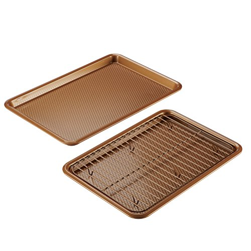Ayesha Curry Nonstick Bakeware Set with Nonstick Cookie Sheets / Baking Sheets and Cooling Rack - 3 Piece, Copper Brown