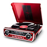 ION Mustang LP – 4-in-1 Vinyl Record Player/Turntable with Built In Speakers, Plus a Radio, USB Playback and Aux Input – Vibrant Red Finish (MUSTANGLPRED)