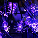 Battery Operated Halloween Spider Fairy Lights with 30 Purple LEDs for Halloween Decorations