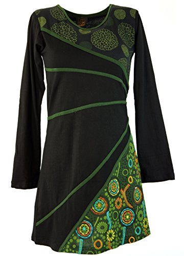 Guru-Shop Hippie Minikleid Boho Chic, Tunika - Schwarz/grün, Damen, Baumwolle, Size:M (38), Kurze Kleider Alternative Bekleidung