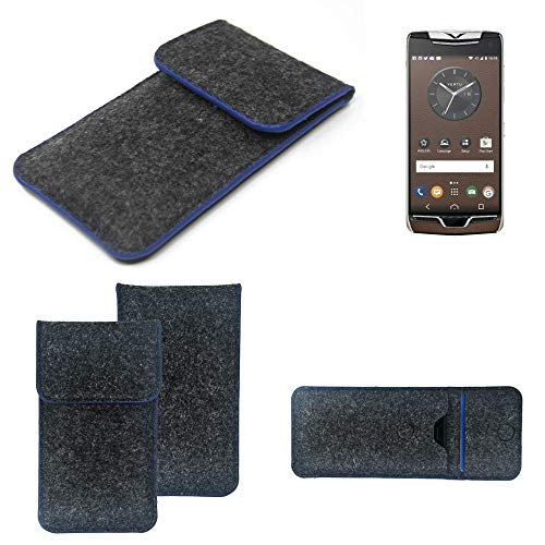K-S-Trade® Handy Schutz Hülle Für Vertu Constellation (2017) Schutzhülle Handyhülle Filztasche Pouch Tasche Case Sleeve Filzhülle Dunkelgrau, Blauer Rand
