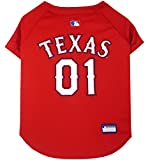 Pets First MLB Texas Rangers Dog Jersey, Small. - Pro Team Color Baseball Outfit
