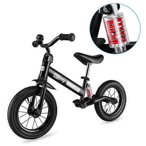 Besrey Laufräder Laufrad Mit Stoßdämpfern und 12-Zoll-Luftreifen. Der Griff und die Sitzhöhe sind einstellbar. 3-6 Jahre. (Schwarz)