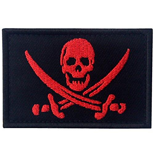 Écusson avec crochet et boucle Motif drapeau pirate militaire