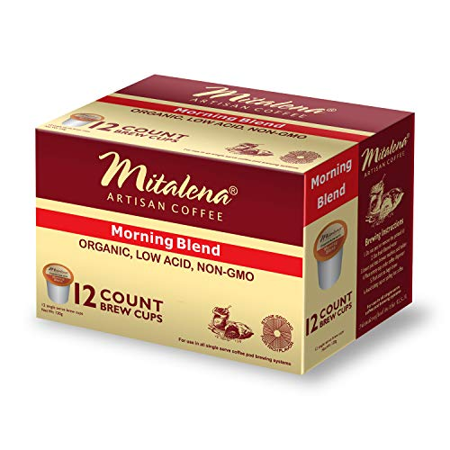 Mitalena Brand - 72 ct. Morning Blend Organic Arabica Low Acid Coffee Single Serve Brew Cups