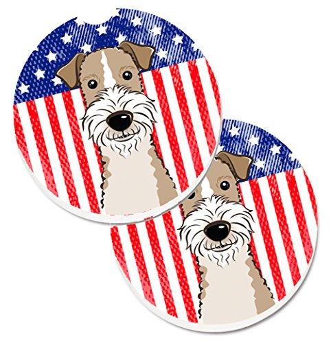 Caroline tesoros del perro Fox Terrier pelo de alambre bandera americana & Set de 2cup Holder coche posavasos bb2177carc, 2,56, multicolor