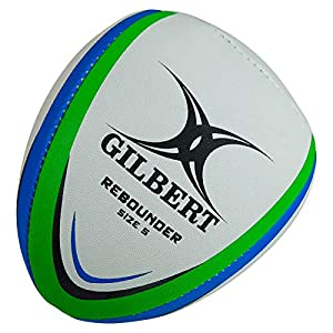 (Size 5, White/Blue/Green) - Rebounder Match Weight Training Rugby Ball - White/Green/Blue by