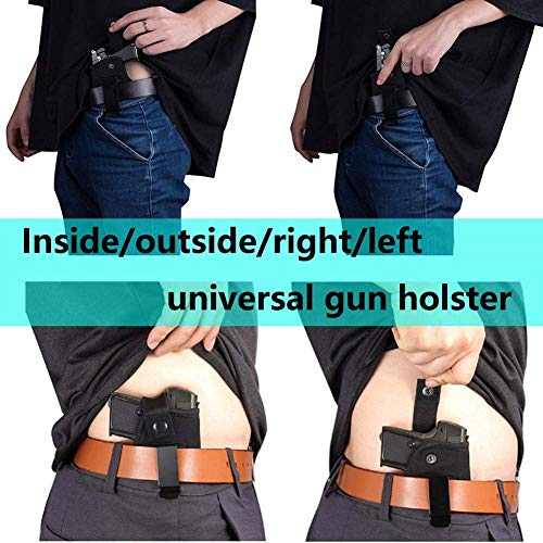 Universal Holster Gun Concealed Carry IWB OWB Right Left Holster Fits S&W M&P Shield/Glock 26 27 29 30 33 42 43 / Springfield XD XDS/Ruger LC9 & All Similar Handguns