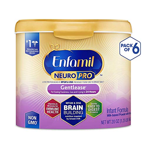 Enfamil NeuroPro Gentlease Baby Formula Gentle Milk Powder, MFGM, Omega 3 DHA, Probiotics, Iron & Immune Support, 20 Ounce (Pack of 6)