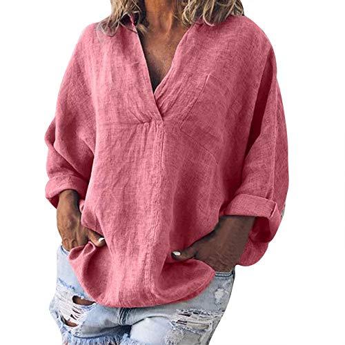 iHENGH Damen Sommer Top Bluse Bequem Lässig Mode T-Shirt Blusen Frauen Plus Size Solide Lässige Leinen V Ausschnitt Bluse T-Shirt(Rosa, L)