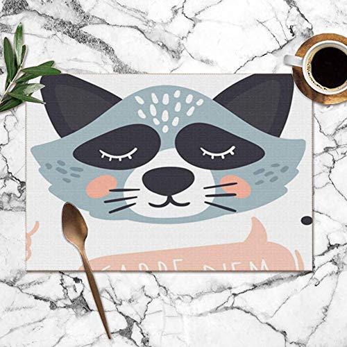 Hangdachang Tischsets 6er-Set Carpe Diem Design Süße Tiere Essen und Trinken Hitzebeständige Tischsets Waschbare Tischsets für den Esstisch in der Küche 12 x 18 Zoll