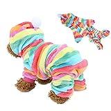 Bicaquu Sudaderas con Capucha para Mascotas Ropa Traje de Salto Pijama cálido Ropa para Perros Gatos en otoño Invierno(Arcoiris XXL)