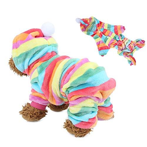 Bicaquu Sudaderas con Capucha para Mascotas Ropa Traje de Salto Pijama cálido Ropa para Perros Gatos en otoño Invierno(Rainbow XS)
