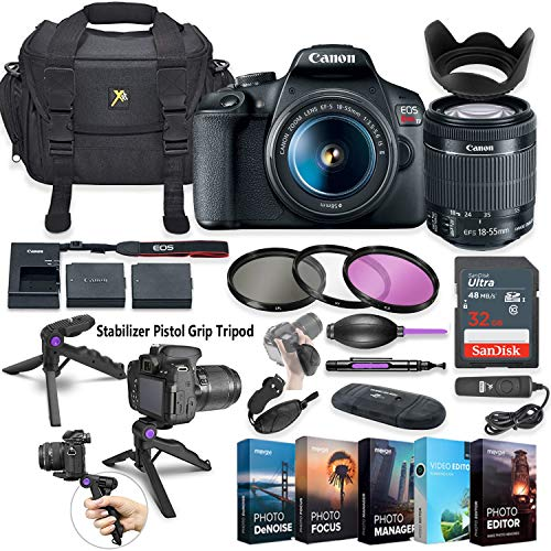 Canon EOS Rebel T7 DSLR Camera with 18-55mm Lens + 5 Photo/Video Editing Software Package & Accessory Kit