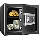 US Stock Fireproof and Waterproof Safe Cabinet Security Box, Digital Combination Lock Safe with Keypad LED Indicator, for Cash Money Jewelry Guns Cabinet (Black) (1.0 cub)