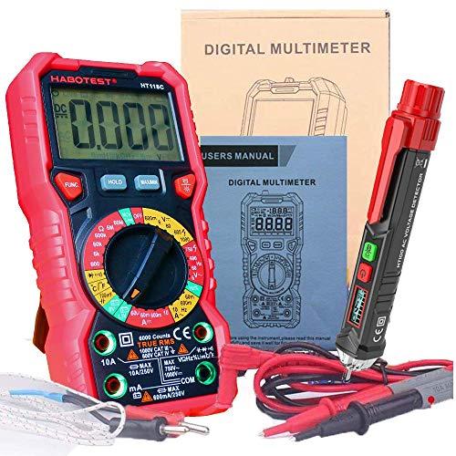 HABOTEST HT118C, multimetro digitale in edizione esclusiva, ad alta precisione, con jack di ingresso, indicatore LED e retroilluminazione bicolore