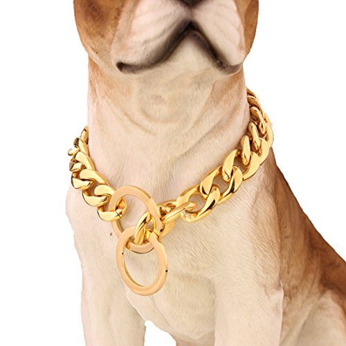 FANS JEWELRY Strong 13/15/19mm Gold Plated Stainless Steel NK Chain Dog Collar Choker Necklace 12-36inch (20inches,13mm)